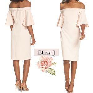 🆕 Eliza J Off Shoulders Ruffle Pink Sheath Dress